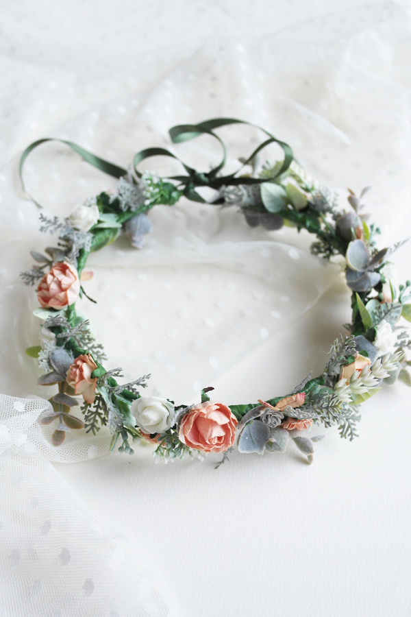 Peach Bridal Flower Crown