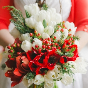 Holiday Wedding Bridal Bouquet in Red, White & Green