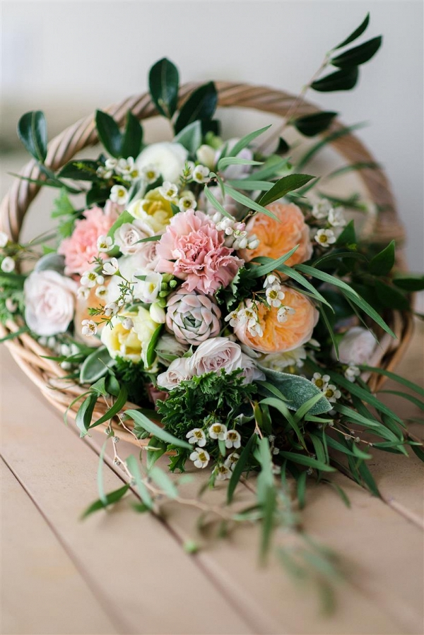 Country Garden Inspired Bridal Bouquet in a Basket