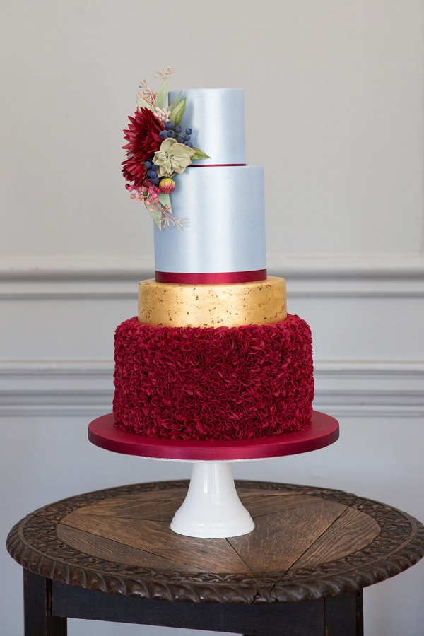 Red and ice blue wedding cake