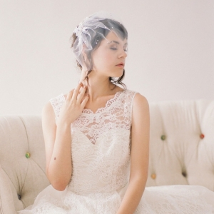 Crystal Lace Tulle Birdcage Veil by January Rose Bridal Photography - Desi Baytan Photography