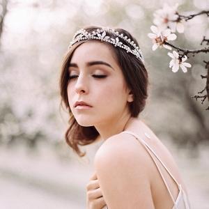 Delicate Crystal & Pearl Leaf Bridal Tiara