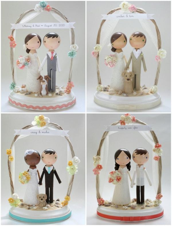 sweet custom beach wedding cake topper aisle society. Black Bedroom Furniture Sets. Home Design Ideas