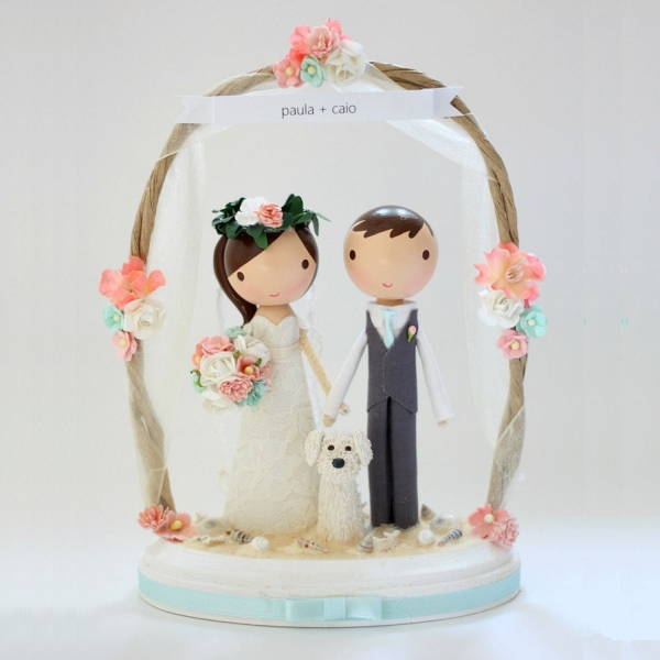 Sweet Custom Beach Wedding Cake Topper