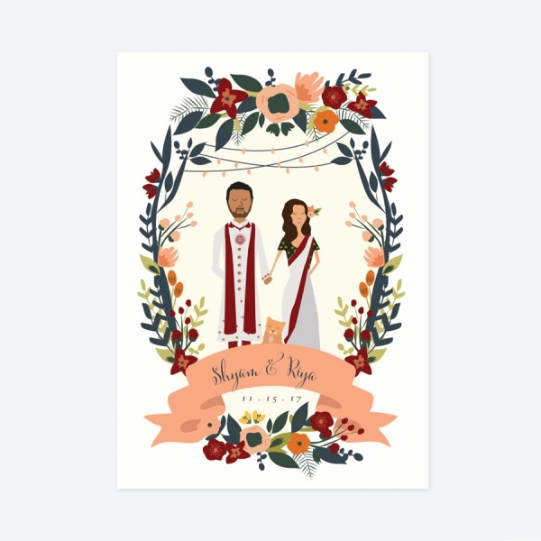 Indian Palace Custom Illustration DIY Wedding Invite