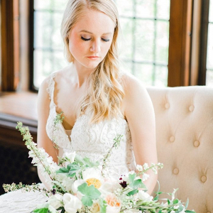 Vintage bride in lace wedding dress