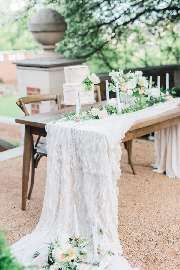 Garden wedding inspiration with gold painted cake
