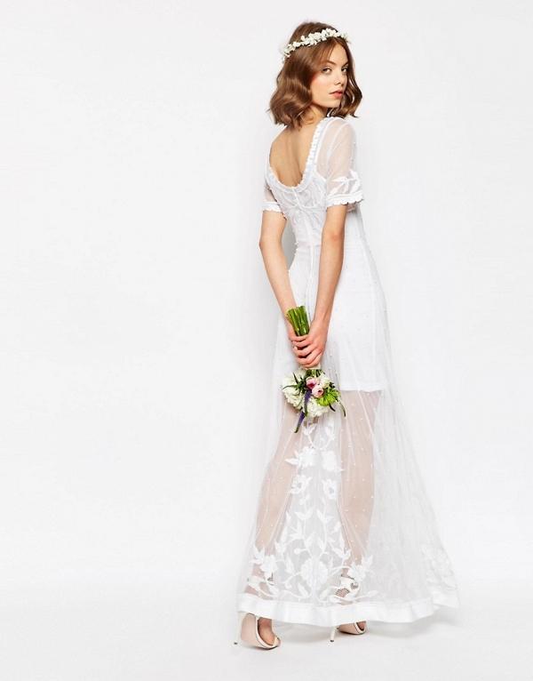 Sheer Lace & Pearl Wedding Dress