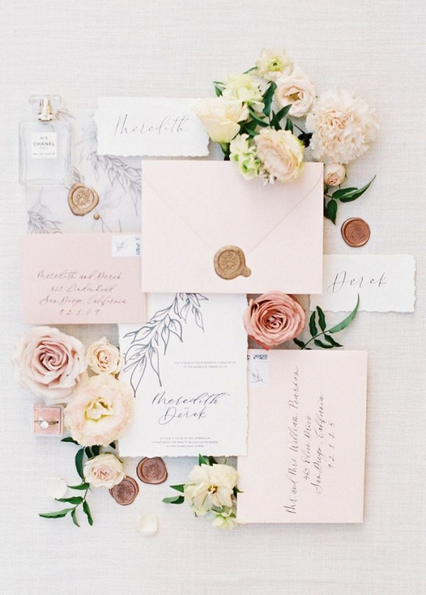 Floral inspired peach wedding stationery
