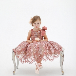 Katy Pink Hand Beaded Flower Girl Dress
