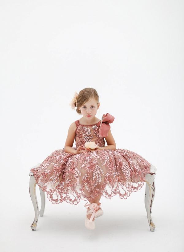Katy Pink Hand Beaded Flower Girl Dress