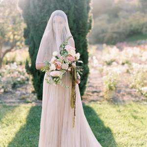 Romantic Bride in Peach Gown on Chic Vintage Brides