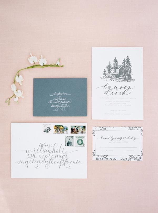 illustrated wedding invitation on Chic Vintage Brides
