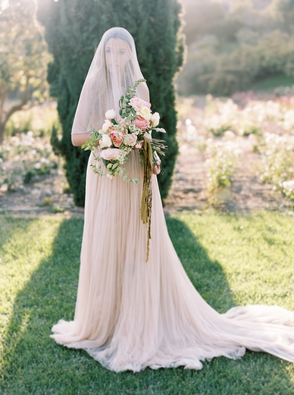 Romantic Bride in Peach Gown on Chic Vintage Brides