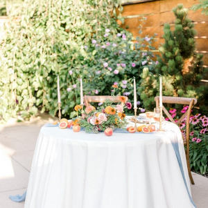 Summer garden wedding sweetheart table