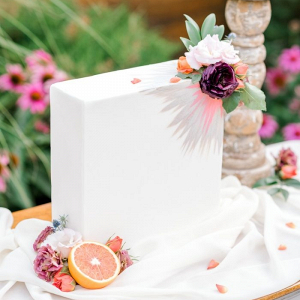 Modern tall rectangle wedding cake