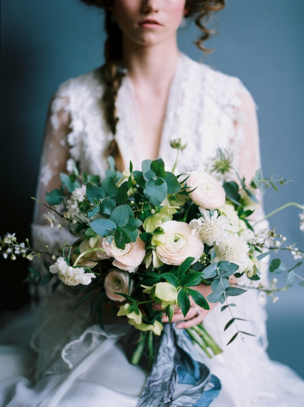 Greenery and ranunculus bouquet