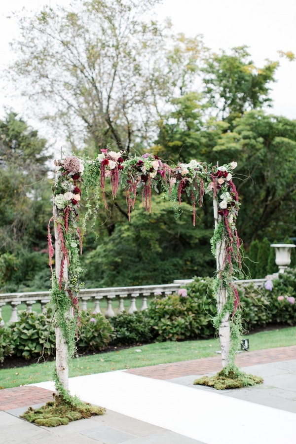 Outdoor Marsala Floral Aisle Arch