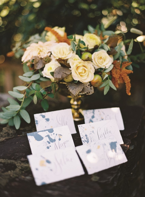 Floral Centrepiece and calligraphy escort cards
