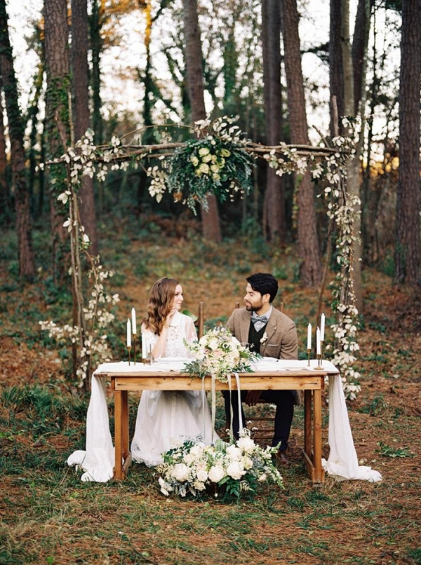 Rustic Woodland Sweetheart Table & Floral Arch
