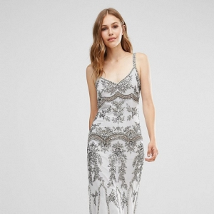 Maya Embellished Maxi Dress with Fishtail