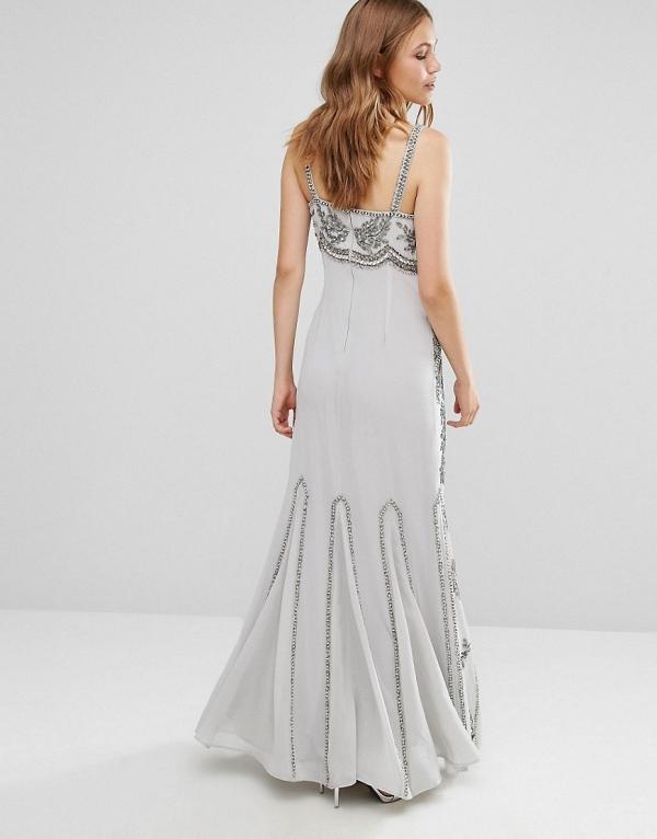 Maya Embellished Maxi Dress with Fishtail