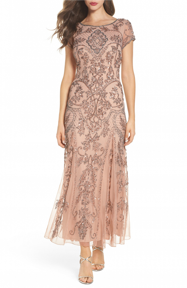 Beaded Blush Mother of the Bride Gown
