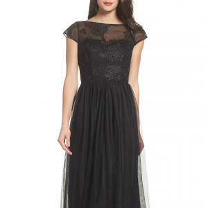 Embroidered Bodice Black Maxi Dress
