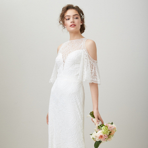 Embroidered Cold Shoulder Bridal Gown