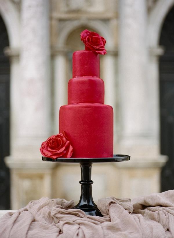 Stunning 3 Tier Red Wedding Cake