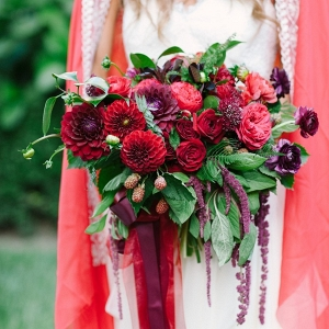 Romantic Red & Purple Bridal Bouquet