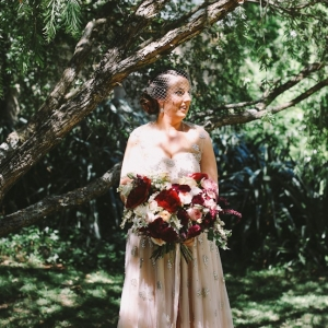 Blush Wedding Dress and Burgundy & Blush Bridal Bouquet. Photography - Lara Hotz