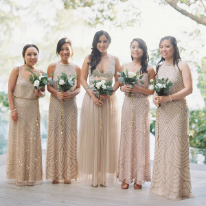 Champagne embellished bridesmaid dresses