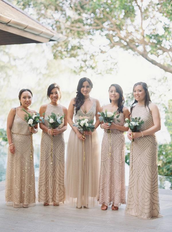 Champagne embellished bridesmaid dresses