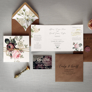 English Garden Vintage Floral Wedding Invitation