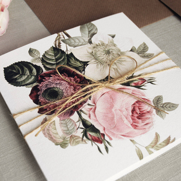 English Garden Vintage Floral Wedding Invitation