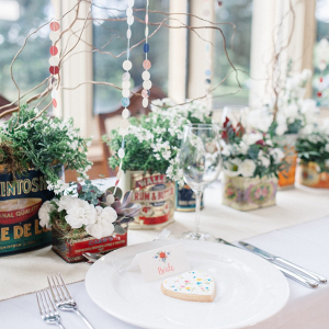 Whimsical wedding place setting