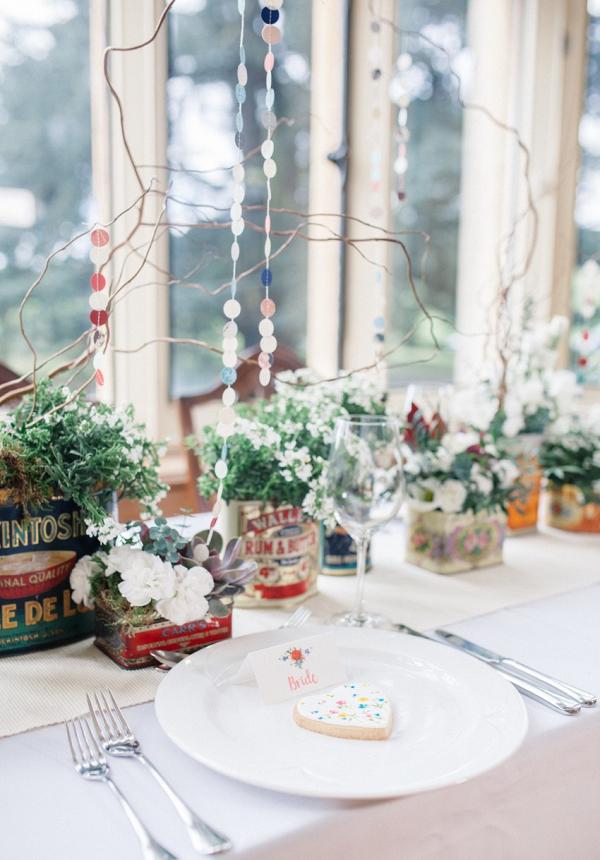 Whimsical wedding place setting