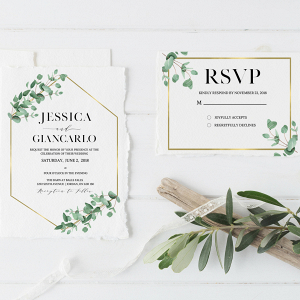 Eucalyptus Gold Geometric Wedding Stationery