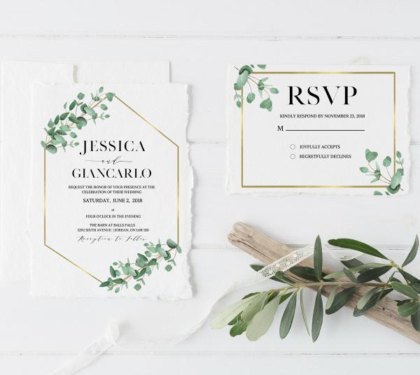 Eucalyptus Gold Geometric Wedding Stationery