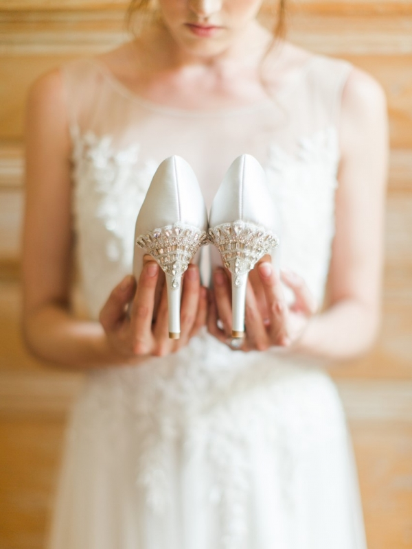 Glamorous Bridal Shoes with Jewelled Heels by Bella Belle Shoes | As seen on @aislesociety | Photography - Rachel May