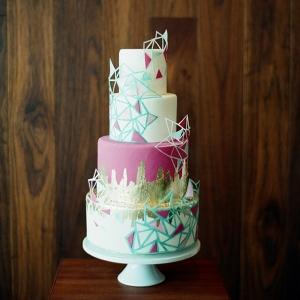 Geometric Brights 4 Tier Wedding Cake
