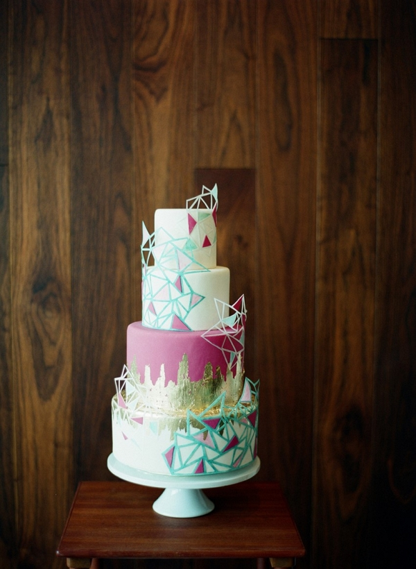 Geometric Brights 4 Tier Wedding Cake