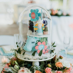 Whimsical Disney themed cloche wedding centerpieces