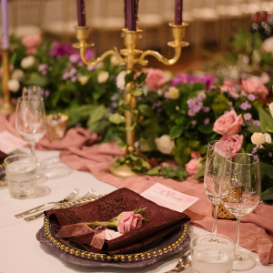 Romantic plum and pink place setting