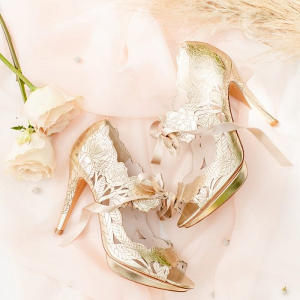 Gold flower heels by Harriet Wilde