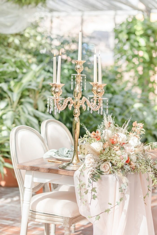 Vintage tablescape with candelabra