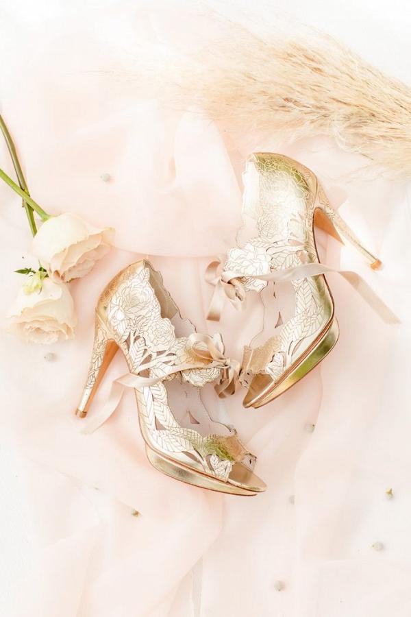 Gold flower heels by Harriet Wilde