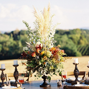 Tall fall centerpiece on Chic Vintage Brides