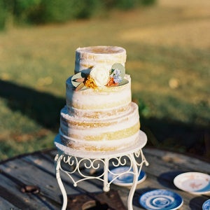Semi naked wedding cake on Chic Vintage Brides